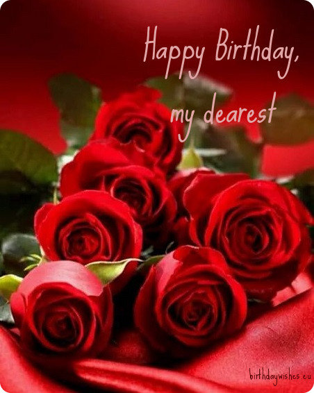 birthday card with red roses