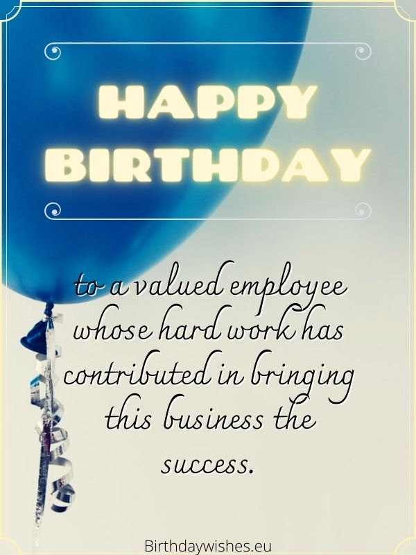 Birthday messages for employees