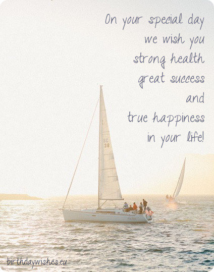 birthday card with sailing boat